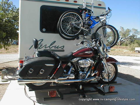 rv motorcycle carrier, motorcycle lift, motorcycle carriers